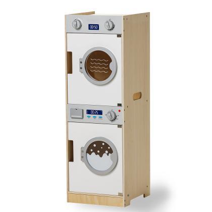 MaMaMeMo Holz Waschmaschine und Trockner - weiß
