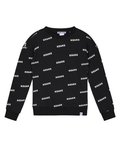 Nik&Nik Logo Sweatshirt All-Over Print - schwarz