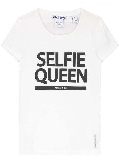Nik&Nik T-Shirt Selfie mit Print - creme