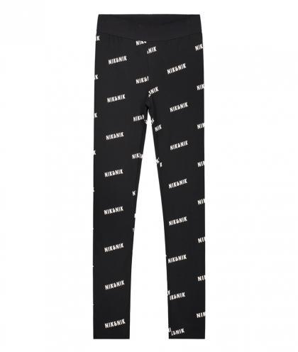 Nik&Nik Logo Leggings All-Over Print - schwarz