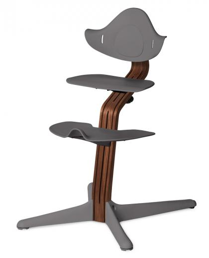 Nomi by Evomove highchair walnut with walnut core, nature oiled - grey