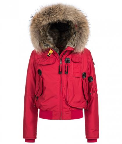 Parajumpers Gobi Bomber-Daunenjacke mit Echtfell in rot