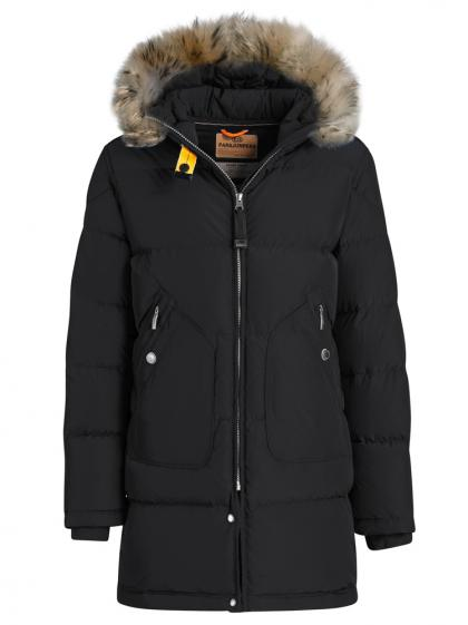 Parajumpers Light Long Bear Daunenparka mit Echtfell in schwarz