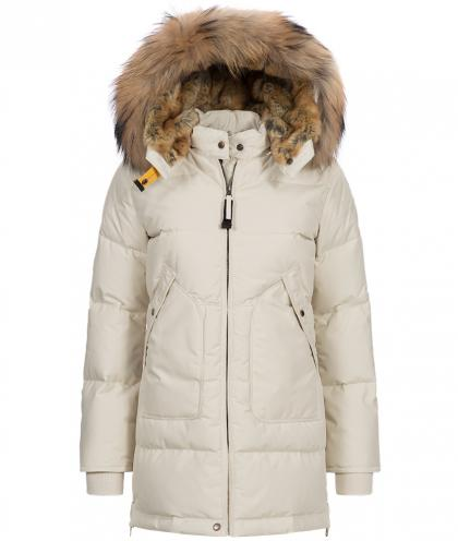 Parajumpers Long Bear down coat with real fur - ivory