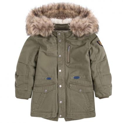 Pepe Parka Tucker mit Fake-Fell in olive