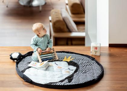 Play&Go 2in1 crawling mat/bag pinguin - black Ø120 cm