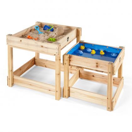 Plum Holz Sand- und Wasserspieltisch Sandy Bay 2er Set -  natur