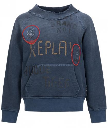 Replay Pullover im Used-Look in dunkelblau