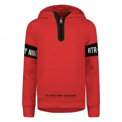 Retour hoodie Chaz with zipper and print - red