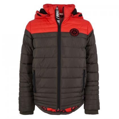Retour quilted jacket George with red lining print - olive