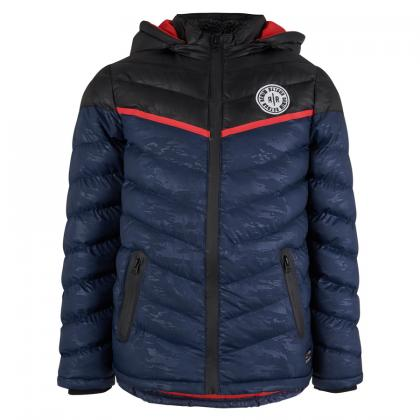 Retour quilted jacket Dominic with camouflage print - navy