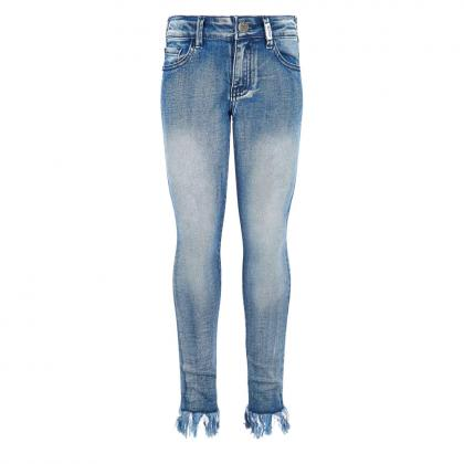 Retour skinny jeans Zoey with fringes - blue