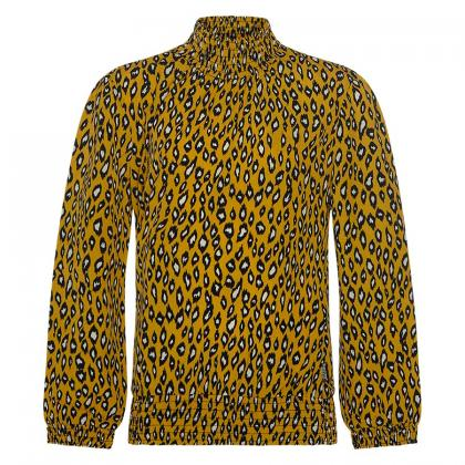 Retour blouse Ann with high neck and leo print - yellow
