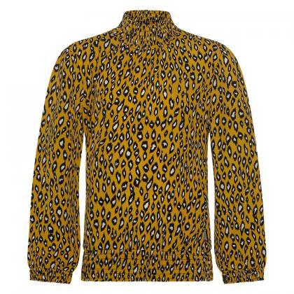 Retour Bluse Ann mit hohem Kragen und Leo Print - gelb