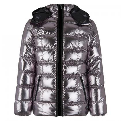 Retour quilted jacket Romy metallic look - silver