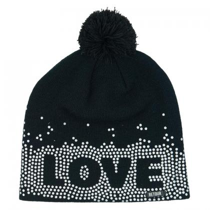 Retour cap Geertje with pompom and print - black