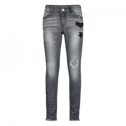 Retour used skinny jeans Phillippa with rivets and patches - grey