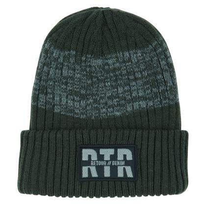 Retour Mütze Damian aus Rippstrick mit Logo Patch - oliv