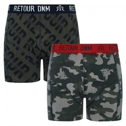 Retour boys boxer set Guido - oliv/grau camouflage