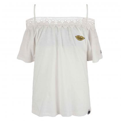 Retour T-Shirt Cecile mit Häkelborte - weiß