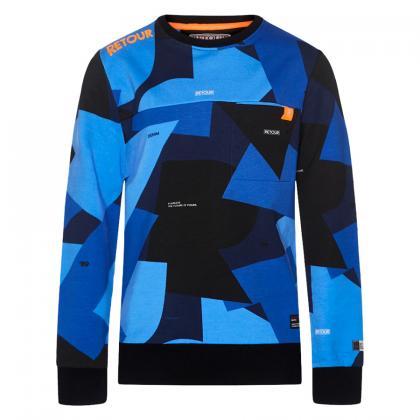 Retour sweater Winston with gemoterical pattern - blue