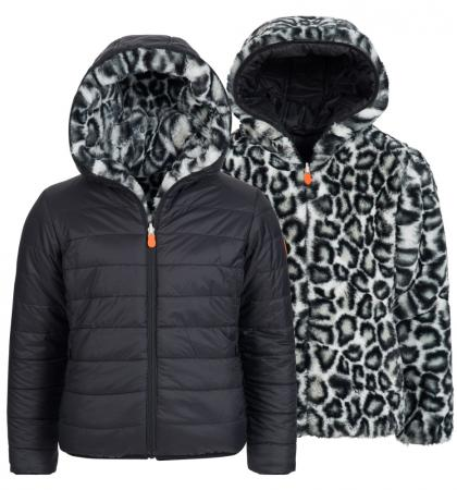 Save the Duck Reversible jacket with teddy fur lining in black
