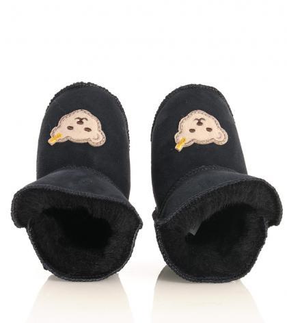 Steiff home slippers Sienna with lambs fur in navy-blau