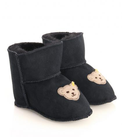 Steiff baby slippers Sienna with lambs fur in navy-blau