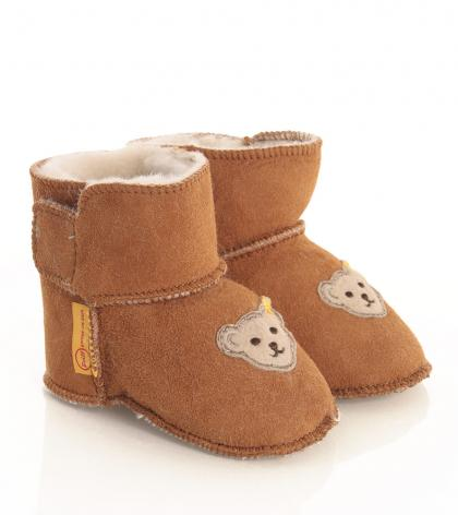 Steiff baby slippers Sienna with lambs fur in cognac