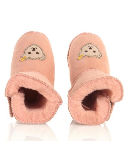 Steiff home slippers Sienna with lambs fur in pink