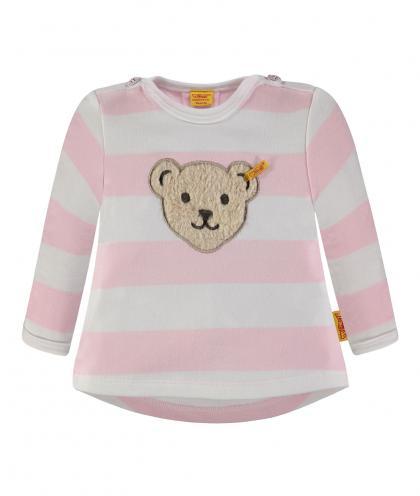 Steiff Langarmshirt geringelt in rosa-weiss