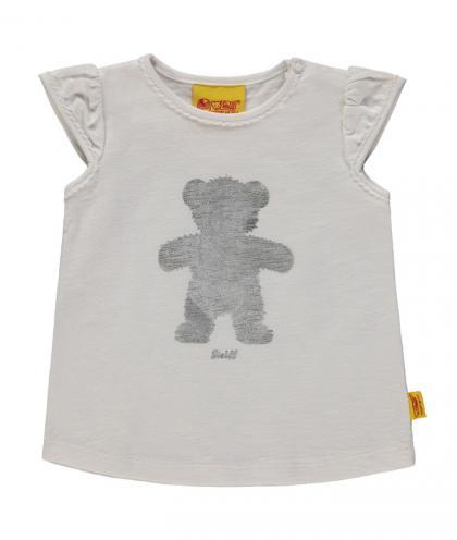 Steiff Shirt mit Metallic-Teddy in weiss