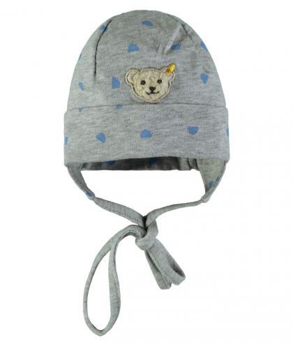 Steiff Babymütze in grau-blau