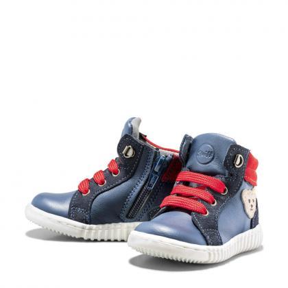 Steiff Leder-Lauflernschuhe Milaan in blau-rot