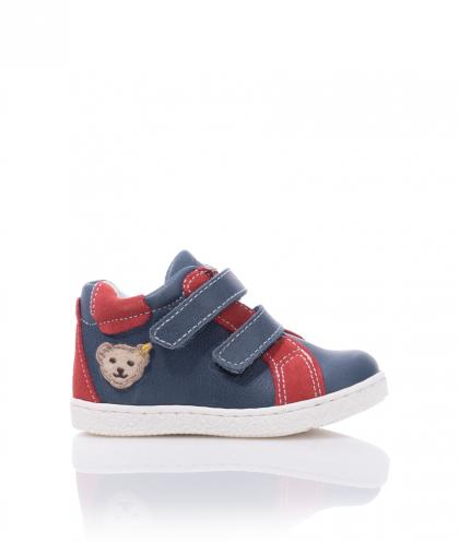 Steiff leather first step shoes Raaphael - blue/rot