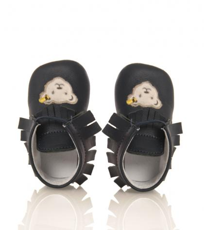 Steiff baby shoes Nooah of leather in dark blue
