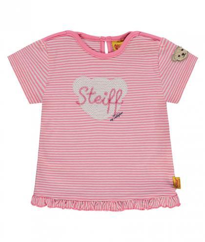 Steiff Shirt mit Pailletten und Volant in pink-weiss