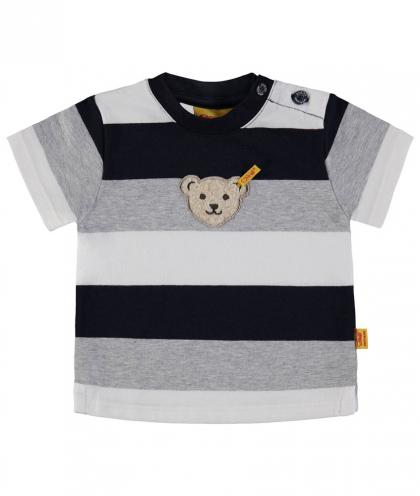 Steiff Streifen-Shirt mit Plüsch-Teddy in marine-weiss