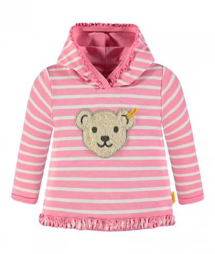 Steiff hooded sweater with noise in pink-white