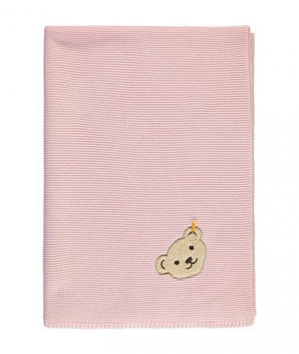 Steiff Flachstrickdecke mit Teddy Patch in rosa