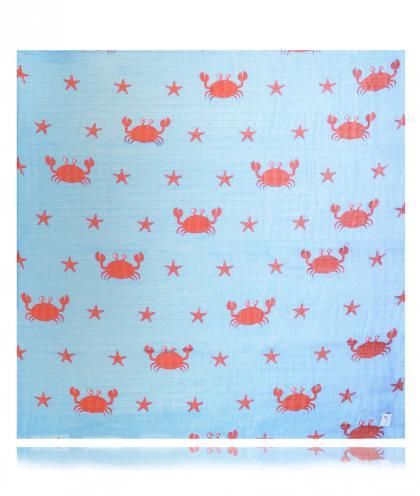 Swaddlies weiches Baby Spucktuch Crabby Summer - blau