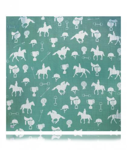 Swaddlies soft baby burp cloth Jenny´s Horses - green