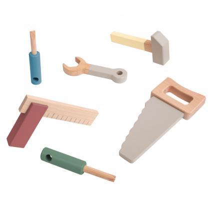Sebra wooden tools set, 6 parts - multi