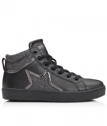 Tommy Hilfiger high leather sneaker with star in black