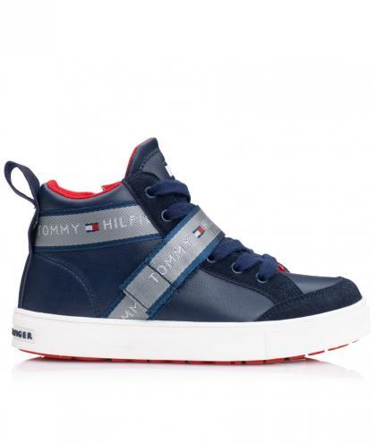 Tommy Hilfiger hoher Leder-Sneaker in dunkelblau