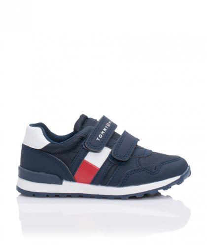 Tommy Hilfiger Leder-Sneaker mit Klettverschluss in navy