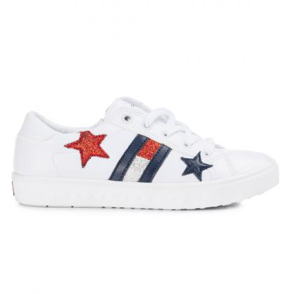 Tommy Hilfiger sneaker with glitter - white