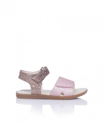 Tommy Hilfiger leather sandals with sparkles in the metallic look in pink