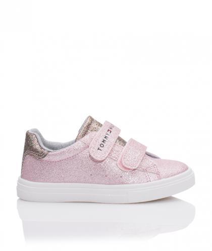Tommy Hilfiger Leder-Sneaker mit Glitzer im Metallik-Look in rosa