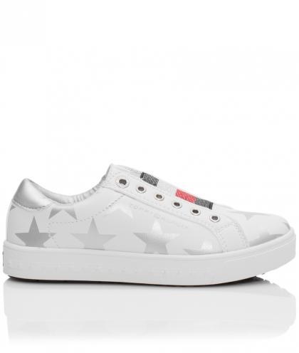 Tommy Hilfiger Leder-Sneaker mit Sternen-Print in weiss